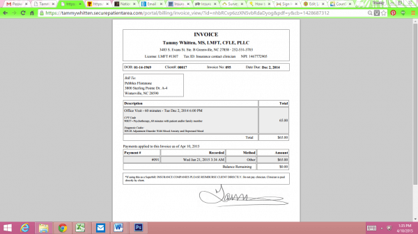 Detailed view of printed invoices in Counsol