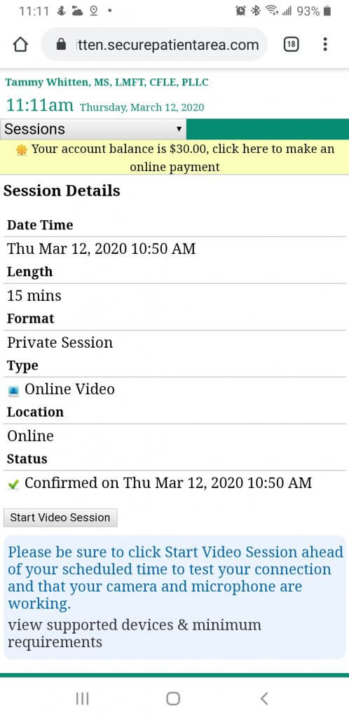 Start video session inside client portal on phone